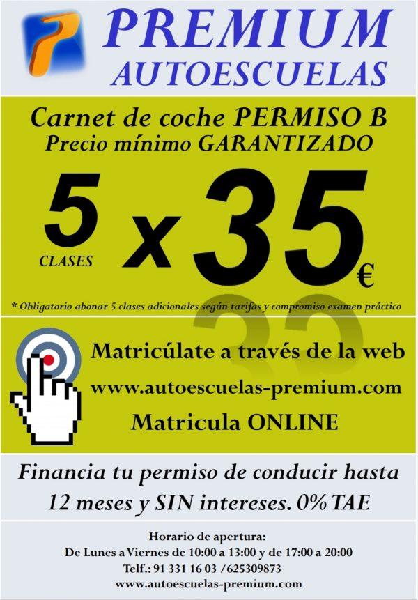 Carnet de coche b en madrid 5 clases por 35 euros