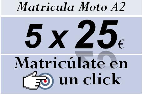 Carnet de moto a2 con 5 clases de maniobras por 25 euros